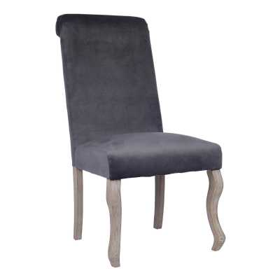 Dark Grey Fabric Dining Chair With Silver Ring Knocker Back Light Wood Shaped Legs