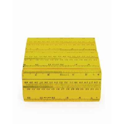 Retro Style Yellow Ruler Themed Small Size Storage Box 8 x 16cm