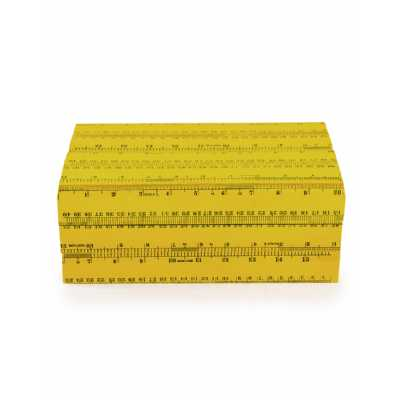 Funky Retro Yellow Ruler Large Wooden Rectangular Storage Box 10.5x16x26cm