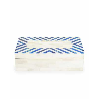 Contemporary Style Blue Grey And White Bone Inlay Design Large Size Storage Box 7.5 x 26cm