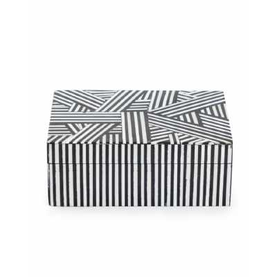 Retro Style Black And White Striped Small Wooden Storage Box 6.5x15.5x10.5cm