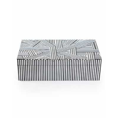 Minimalist Design Striped Black and White Monochromatic Rectangular Large Storage Trinket Box 7.5x26x16cm