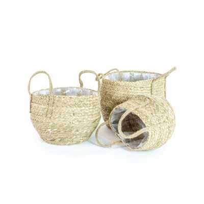 Set Of 3 Rustic Style Weaved Storage Plant Pot Baskets 29 x 32cm