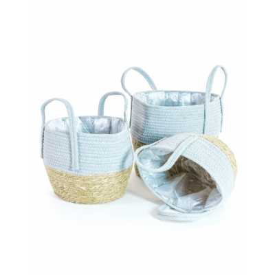 Set Of 3 Rustic Styled Wicker And Amp Grey Storage Plant Pot Baskets 29 x 32cm