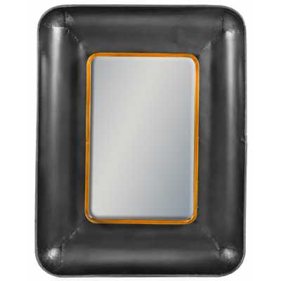 Modern Rectangular Lincoln Wall Mirror With Black Leather Effect Frame