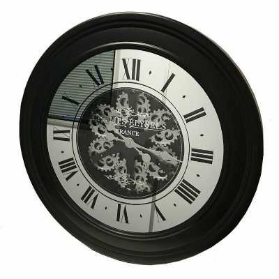 Large Vintage Black Mirrored Face Moving Gears Round Wall Clock Antique Style 80cm Dia
