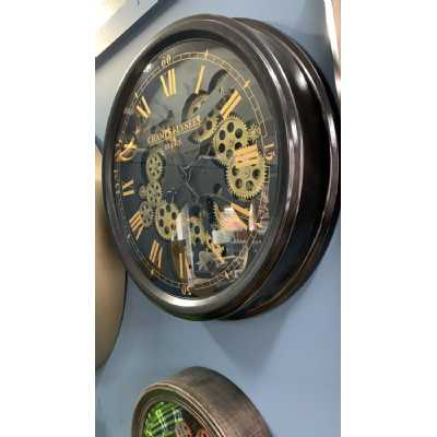Traditional Black and Gold Medium Moving Gears Cogs 52cm Round Wall Clock