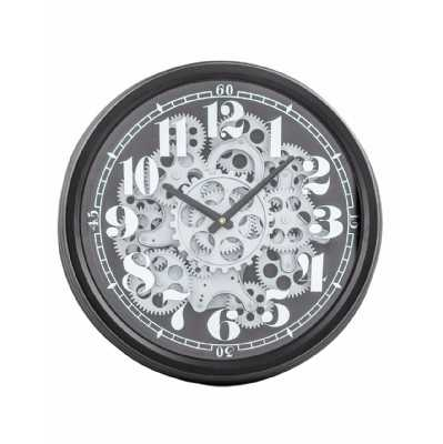 Contemporary Round Black and Silver Moving Gears Wall Clock 39cm Diameter