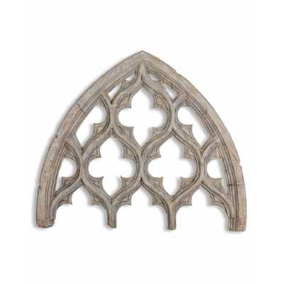 Shabby Chic Gothic Designed Window Arch Wooden Large Wall Decor 80x68x4.1cm