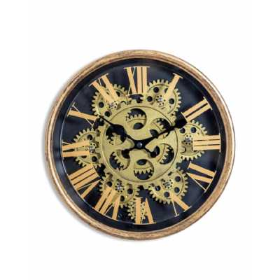 Contemporary Style Black And Gold Finish Small Size Moving Gears Wall Clock 25.2 x 25.2cm