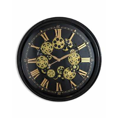 Contemporary Black And Gold Large Round Moving Gears Wall Clock 80cm Diameter