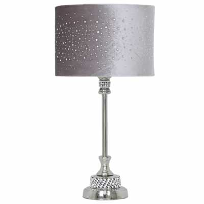 Nickel Diamante Candlestick Table Lamp With Grey Velvet Sparkle Shade
