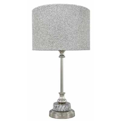 Nickel Diamante Candlestick Table Lamp With 9 Inch Glitter Drum Shade