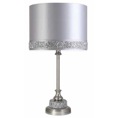 Small Nickel Diamante Candlestick Table Lamp With Silver Milano Shade