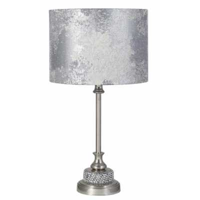 Nickel Diamante Candlestick Table Lamp With Marble Shade