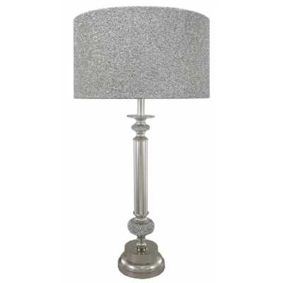 Nickel Diamante Candlestick Table Lamp With 19 Inch Grey Faux Silk Drum Shade