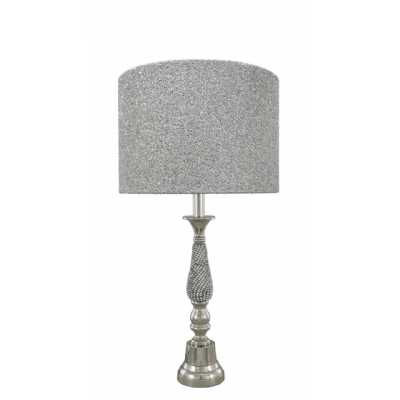 Nickel Diamante Candlestick Table Lamp With 13 Inch Glitter Drum Shade