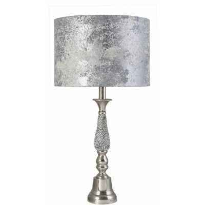 Small Nickel Diamante Candlestick Table Lamp With Marble Grey Shade