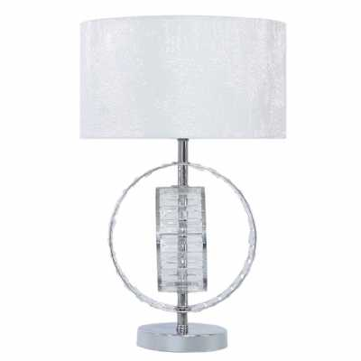 Value 50cm Metal And Crystal Table Lamp With White Cotton Shade