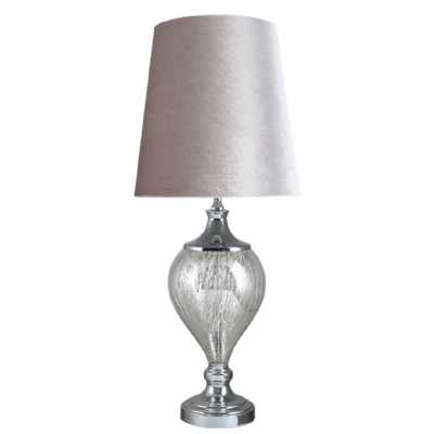 Medium Chrome Glass Regal Lamp With Grey Shade