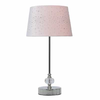 36. 5cm Crystal And Chrome Table Lamp With Pink Velvet Sparkle Shade