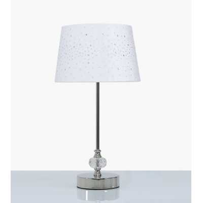 36. 5cm Crystal And Chrome Table Lamp With White Velvet Sparkle Shade