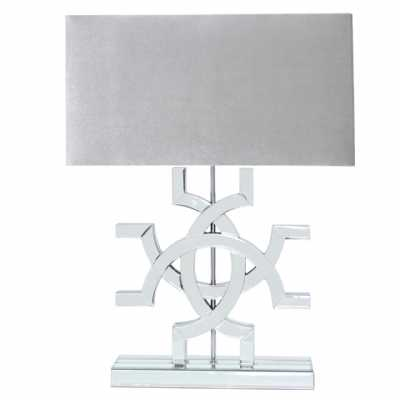 Athos Clear Glass Table Lamp With Grey Shade
