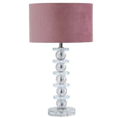 Value 51. 5cm Crystal Glass Table Lamp With Pink Velvet Shade
