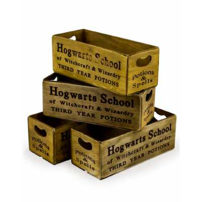 Industrial Set Of 4 Antiqued 'Witchcraft And Wizardry' Wooden Boxes 12x28x10.5cm Each