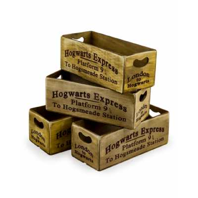 Industrial Set Of 4 Antiqued Hogwarts Express Platform 9 Wooden Storage Boxes 12x28x10.5cm Each