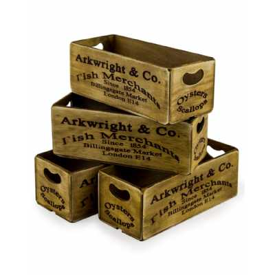 Industrial Set Of 4 Antiqued Billingsgate Market Wooden Storage Boxes 12x28x10.5cm Each