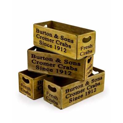Set Of 4 Contemporary Rectangular Wooden Yellow 'Corner Crabs' Boxes 12x28x10.5cm