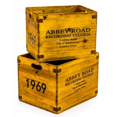 Set Of 2 Antiqued Wooden Abbey Road Motif LP Record Sturdy Useful Storage Boxes Crates