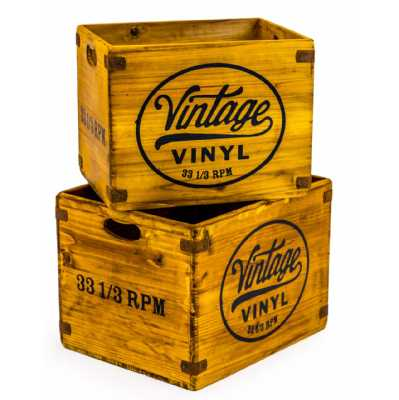 Set Of 2 Antiqued Wooden Vintage Vinyl Motif LP Record Sturdy Useful Storage Boxes Crates