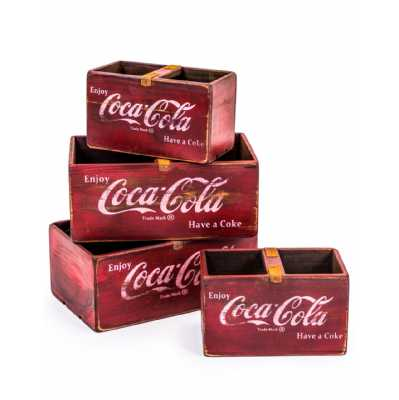Set Of 4 Vintage Antiqued Wooden Red Coca Cola Sturdy Useful Storage Boxes With Wooden Holders