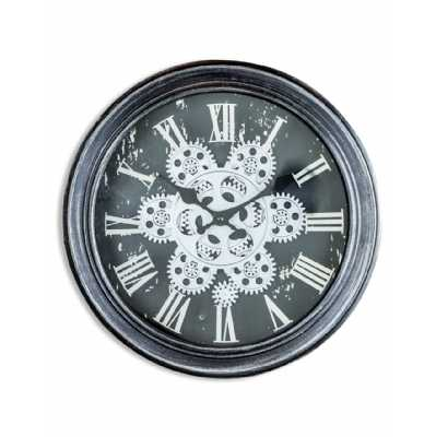 Antique Black And Silver Grey Moving Gears Round Wall Clock 34cm Diameter