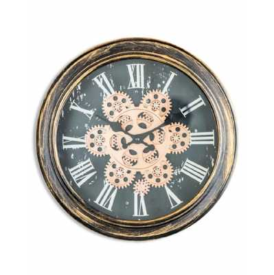 Antique Gold Bronze Moving Gears Black Dial Distressed Wooden Framed Round Wall Clock 34cm Diameter