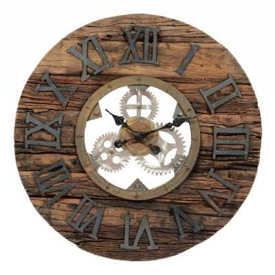 Reclaimed Round Wood and Cogs Brown Roman Numerals Wall Hanging Clock 63cm Diameter