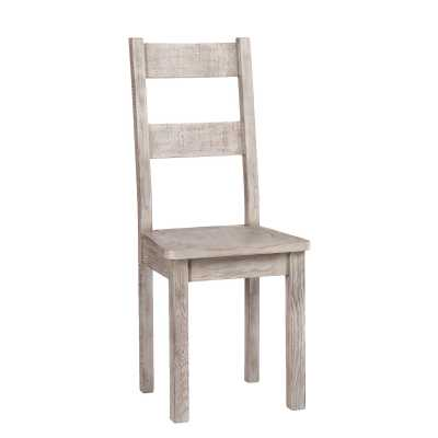 Vancouver Sawn Weathered Grey Finish Solid Oak Dining Chair With Timber Seat
