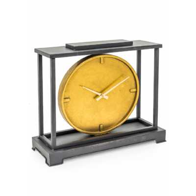 Large Industrial Style Dark Grey Iron Framed Gold Face Mantle Clock