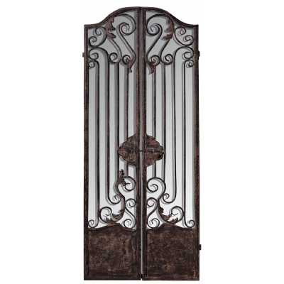 Vintage Style Distressed Look Mirrored Iron Room Divider