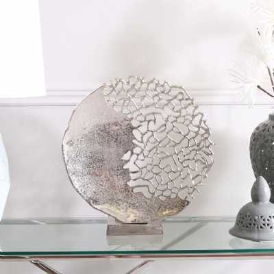 Modern 44cm Nickel Coral Effect Round Plate Decoration On Base
