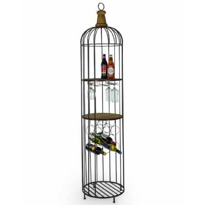 Black Metal And Wood Unique Narrow Bar Storage Unit Wine Rack Shelving Unit Industrial Cage Style 187.5cm Tall