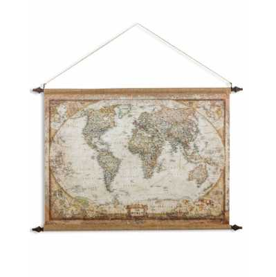 Large Antique Style Wall Hanging Canvas Print World Map 88 x 128cm