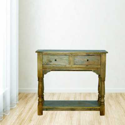 Solid Wood 2 Drawer Console Table