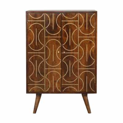 In1462 Chestnut Gold Inlay Abstract Cabinet