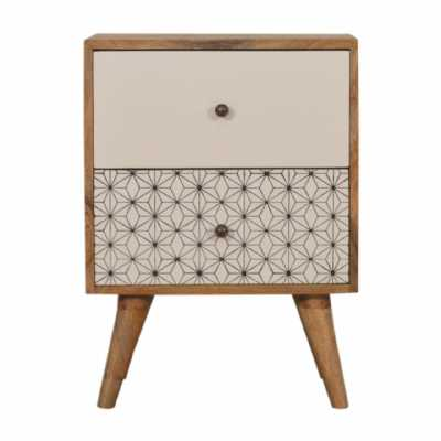 In1481 Geometric Screen Printed 2 Tone Bedside