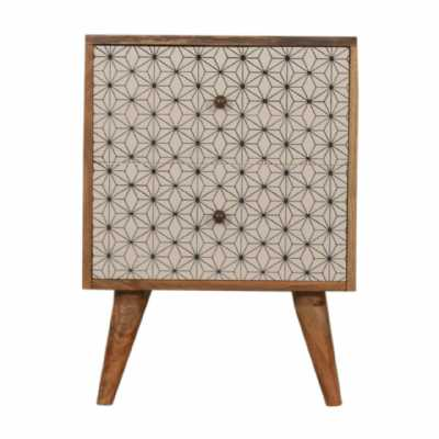 In1482 Geometric Screen Printed Bedside