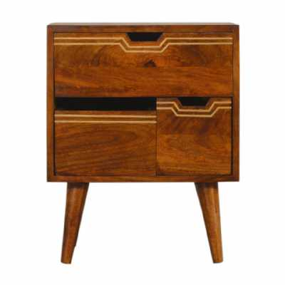 Multi Chestnut Bedside With Removeable Drawers