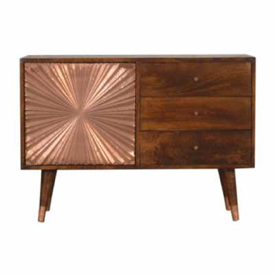 In1544 Manila Rose Gold Cabinet With Drawers